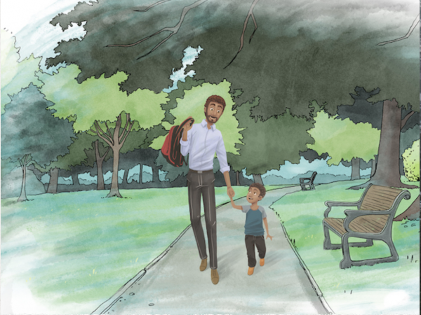Painting of a father and son going to school