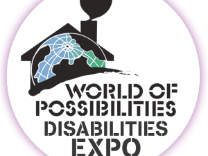 World of Possibilities Disabilities Expo Logo with a house made out of a globe and a heart coming from the chimney