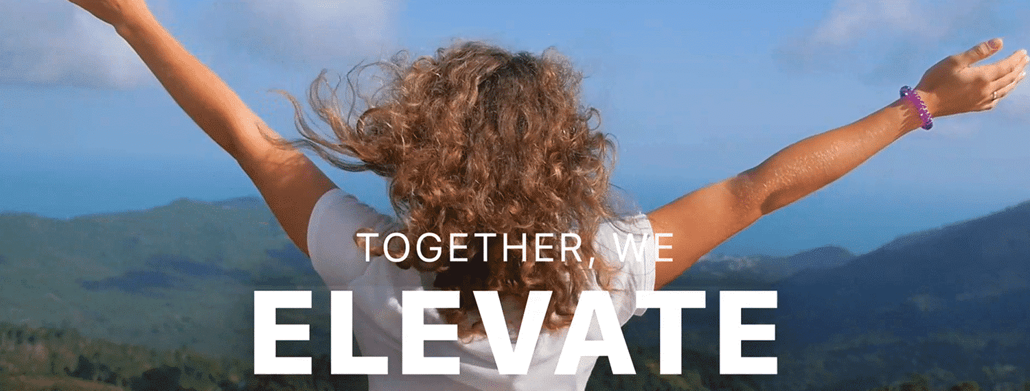"""Young girl reaching to the sky with text overlay: """"Together we elevate"""""""
