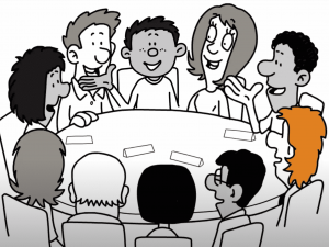 An illustration of a group of people around a table at an IEP meeting