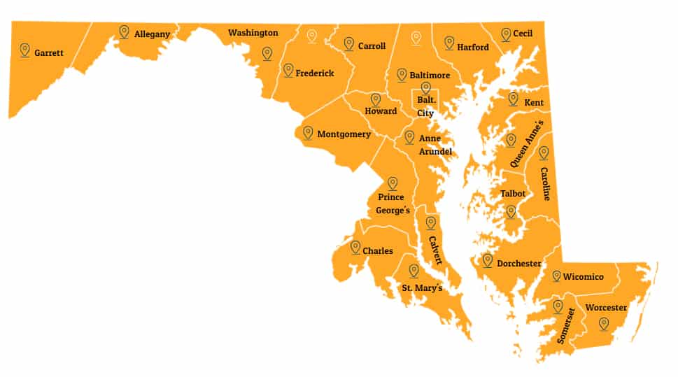 Map of Maryland with the following counties: Garrett, Allegany, Washington, Frederick, Carroll, Baltimore, Harford, Cecil, Montgomery, Howard, Baltimore City, Kent, Prince George's, Anne Arundel, Talbot, Caroline, Charles, Calvert, Dorchester, St. Mary's, Wicomico, Somerset, Worcester